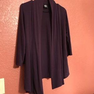Bobeau Purple Cardigan 3/4 Sleeve EUC!